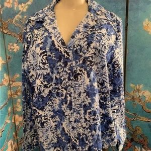 Basic Editions Blue Floral Button Down Shirt